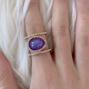 rose gold ring with purple stone